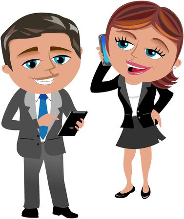 携帯電話とタブレットの操作が分離した実業家・ ビジネスマン
