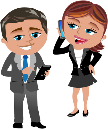 Businesswoman and businessman Working with Mobile and Tablet isolated