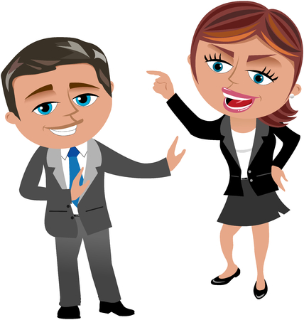 accuse: Angry businesswoman blaming businessman who is trying to keep her calm isolated