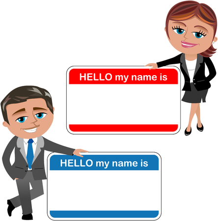 Businesswoman and businessman showing big hello my name is card isolated