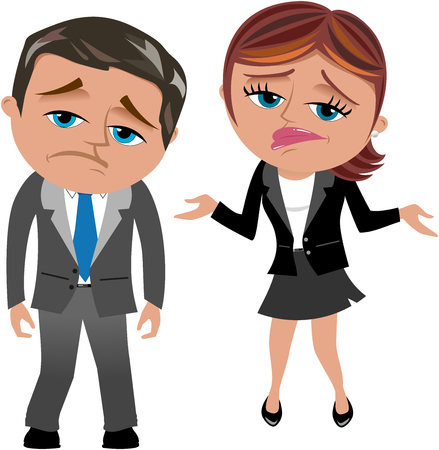 unhappy worker: Disappointed Businessman and Businesswoman isolated
