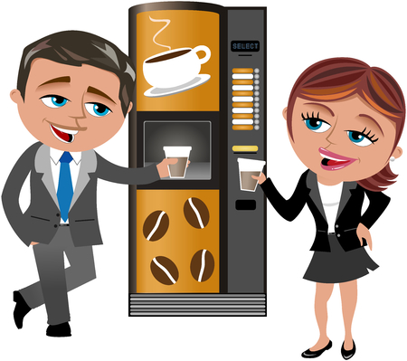 Businessman and businesswoman having coffee break at vending machine isolated Çizim