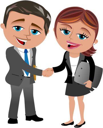 handshaking: Businesswoman and businessman handshaking isolated Illustration