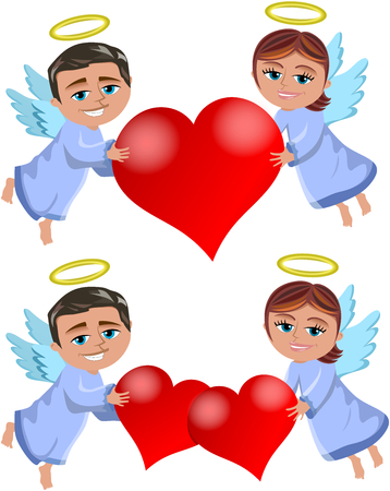 Christmas angels flying and holding big hearts isolated