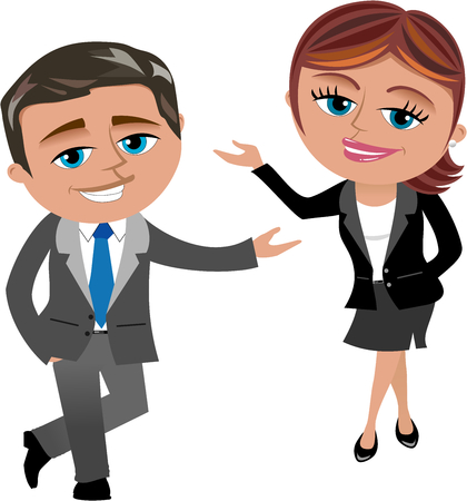 Businesswoman and businessman presenting isolated