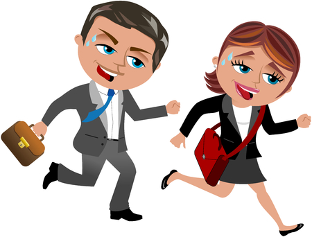 Zakenman en zakenvrouw running Stock Illustratie