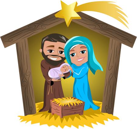 마리아와 요셉은 고립 된 오두막에서 신생아 예수님의 수면을 들고 크리스마스 출생 장면