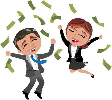 Successful businessman and businesswoman under money rain isolated Illustration
