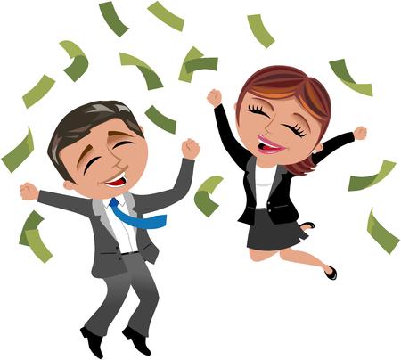 Succesvolle zakenman en zakenvrouw onder regen geld geïsoleerd Stock Illustratie