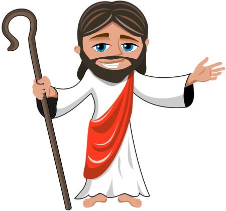 Cartoon smiling Jesus opens his hand holding stick isolated Illusztráció