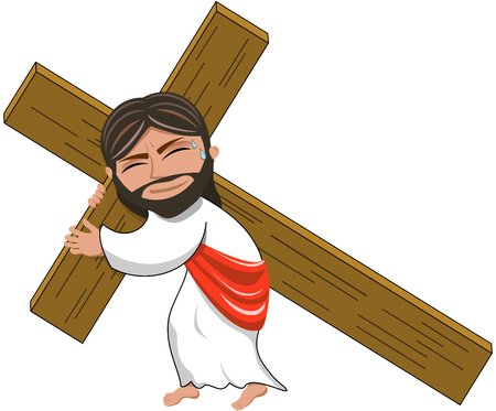 Jesus Christ Carrying Heavy Cross Isolated