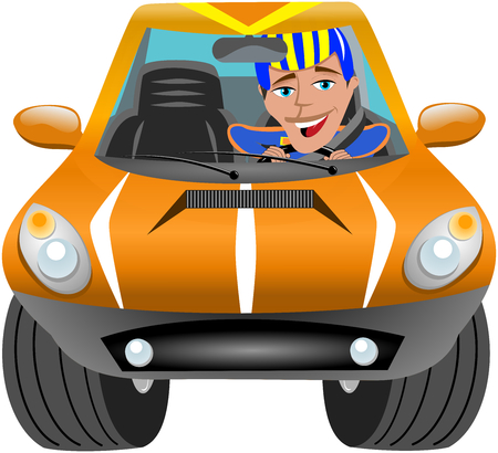 exciting: Happy pilot driving car race isolated on white