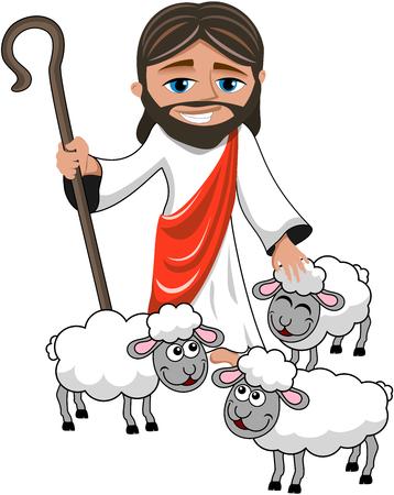 Cartoon smiling Jesus holding stick stroking sheep isolated