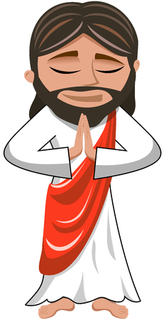 jesus praying: Cartoon Jesus praying isolated