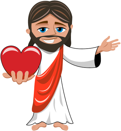 Cartoon smiling Jesus holding big red heart isolated