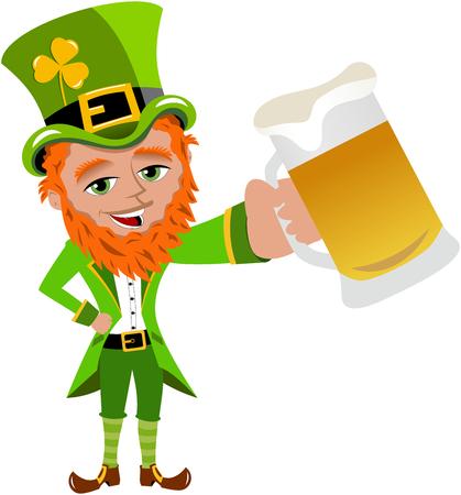 eire: St. Patrick holding beer mug isolated Illustration