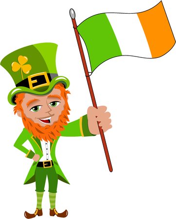 irish pride: St. Patricks or Saint Patrick s waving irish flag isolated