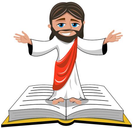 vangelo aperto: Gesù apre le sue mani in piedi sulla Bibbia o del Vangelo libro isolato Vettoriali