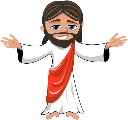 Cartoon smiling Jesus opens his hands isolated Illustration