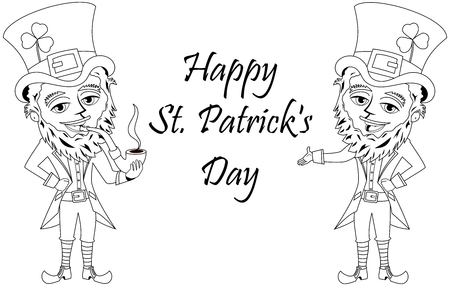 patrick s: St. Patricks or Saint Patrick s smoking pipe for colouring book isolated