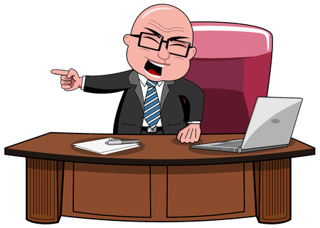 Angry bald cartoon businessman boss standing at desk screaming and intimidating going out his office isolated