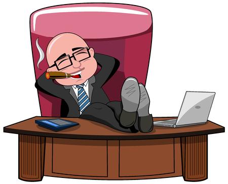 person smoking: Relajado calvo empresario de dibujos animados jefe fumar cigarros y las piernas sobre el escritorio aislado