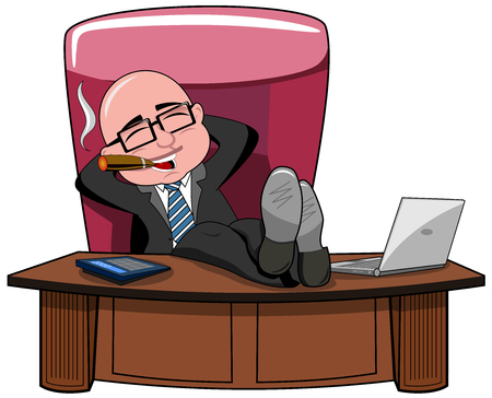 Relaxed bald cartoon businessman boss smoking cigar and legs on the desk isolated Ilustração
