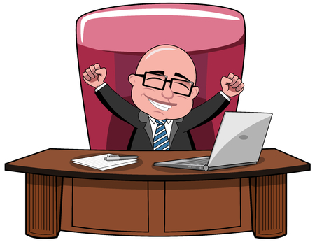 Happy bald cartoon businessman boss sitting at desk and exulting isolated