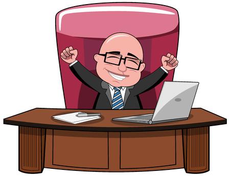 Szczęśliwy Cartoon łysy biznesmen szef siedzi przy biurku i radując izolowane