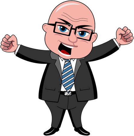 Angry bald cartoon businessman standing with fists closed isolated