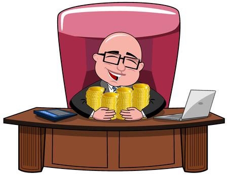 Gelukkig kaal cartoon zakenman baas zitten aan de balie knuffelen geld geïsoleerde