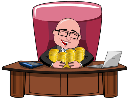 Happy bald cartoon businessman boss sitting at desk hugging money isolated