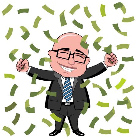 Gelukkig kaal cartoon zakenman baas die zich onder regen van geld geïsoleerd