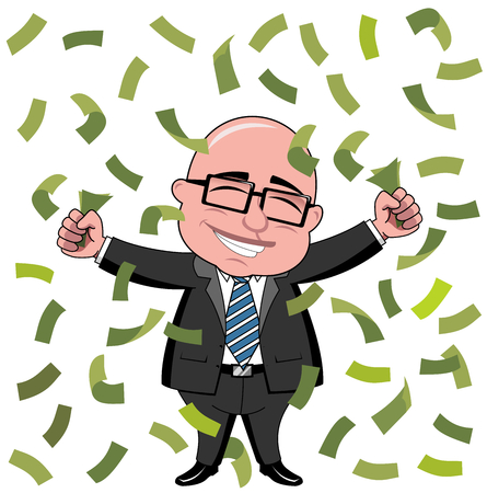 Happy bald cartoon businessman boss standing under rain of money isolated Ilustrace