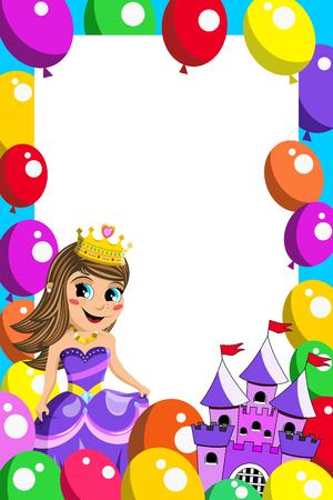 fairy castle: Frame with cute princess fairy castle and balloons