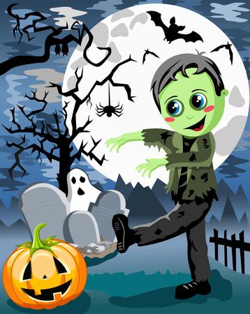 phantom: Green Monster kid walking in the cemetery