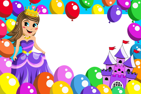 princess: Frame with cute princess fairy castle and balloons