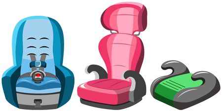 Baby Car Seats Collection Isolated 矢量图像