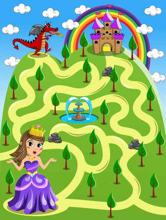 Maze Game Kid Princess Castle Red Dragon 矢量图像