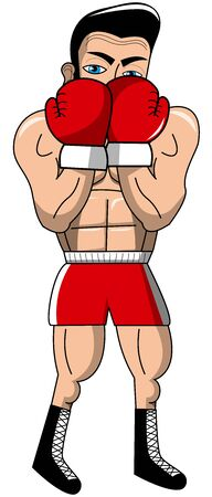 defense: boxer in defense pose isolated Illustration