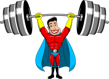 invincible: Superhero Weightlifter lifting heavy weights above head isolated