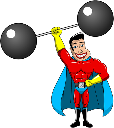 Superhero weightlifter lifting heavy cartoon weights above head isolated Illustration