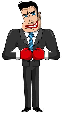 dangerous man: Threatening businessman ready to fight isolated Illustration