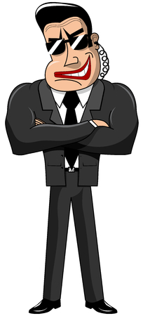 brawny: Security guard standing with crossed arms in black suit isolated