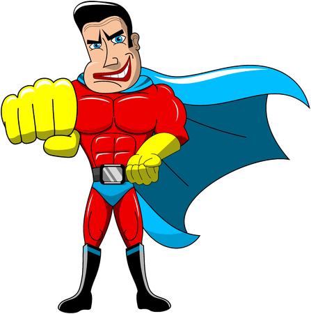 karate: Superhero performing karate move fist isolated