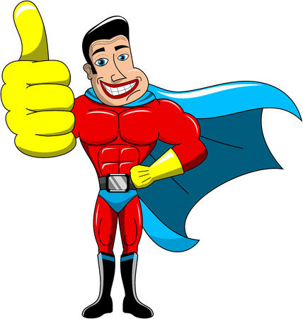 invincible: Superhero with thumb up isolated