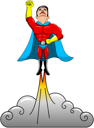 superpowers: Superhero taking off flying isolated