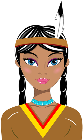 Portrait of a beautiful native American Indian woman isolated Illustration