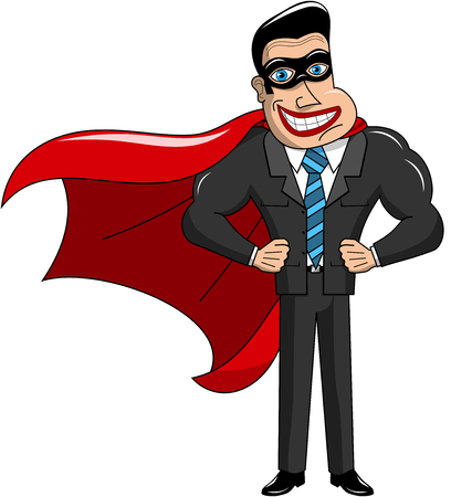 surprising: Superhero Businessman Masked Isolated Illustration