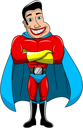superpowers: Smiling Superhero standing with crossed arms isolated